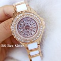 2017 Venda Quente Famosa Marca de Bling Mulheres Relógio Novo Relógio de Luxo Completa Diamante Real Faixa De Relógio de Cerâmica de Strass Pulseira
