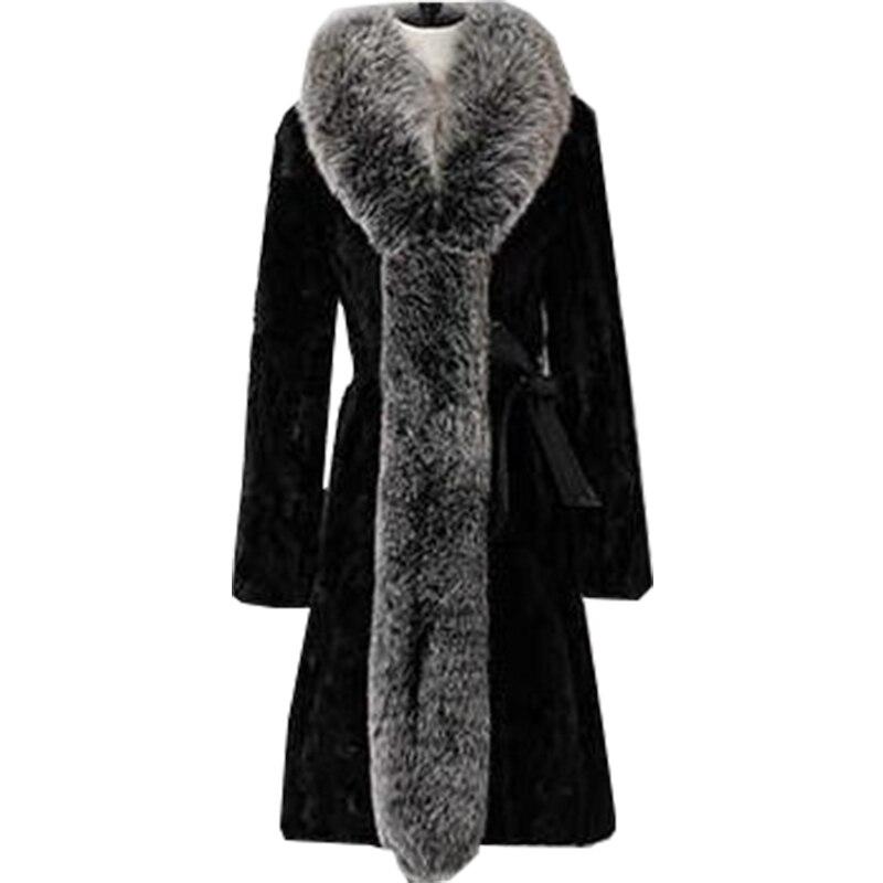 2021 casaco de pele do falso feminino inverno quente longo moda gola de pele de raposa europa e americano venda quente feminino mex vestidos bcd1507084