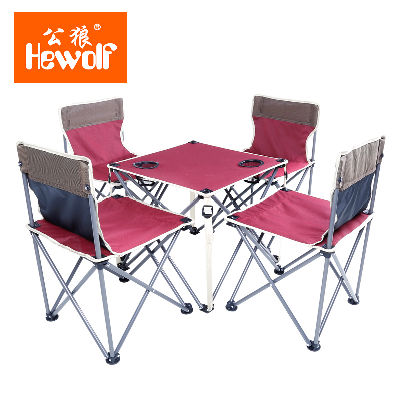 Hewolf Brand outdoor folding tables and chairs suit wild beach chairs by car driving portable picnic tables and chairs stadium chairs