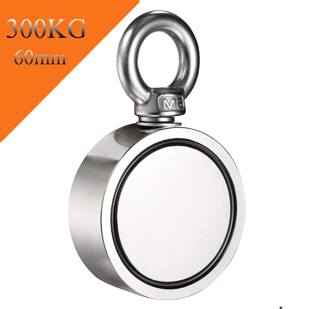 Double Side Magnet Fishing,Combined 300Kg Pulling Force,60Mm Diameter,Super Strong Round Neodymium Fishing Magnet With EyeboltDouble Side Magnet Fishing,Combined 300Kg Pulling Force,60Mm Diameter,Super Strong Round Neodymium Fishing Magnet With Eyebolt