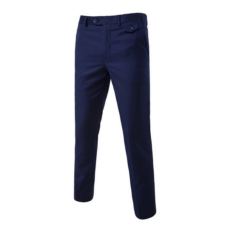 Dress Pant Trousers Business-Suit Office Formal Casual Slim Summer Flat Brand Solid Thin