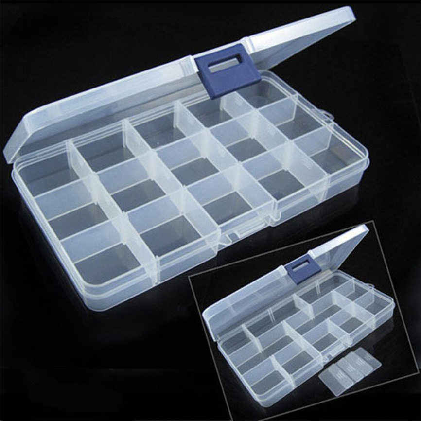 15 Grids Storage Case Box Layer Jewelry Boxes Cases Holder Container Pills Jewelry Nail Art Tips 17.5*10*2cm Dropshipping Aug#1