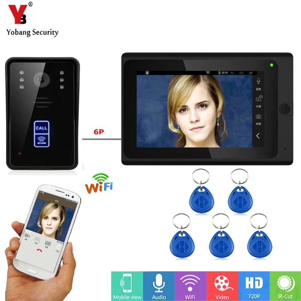 Yobang Security RFID Video Intercom 7 Inch Monitor Wifi Wireless Video Door Phone Doorbell Intercom Camera System APP Control