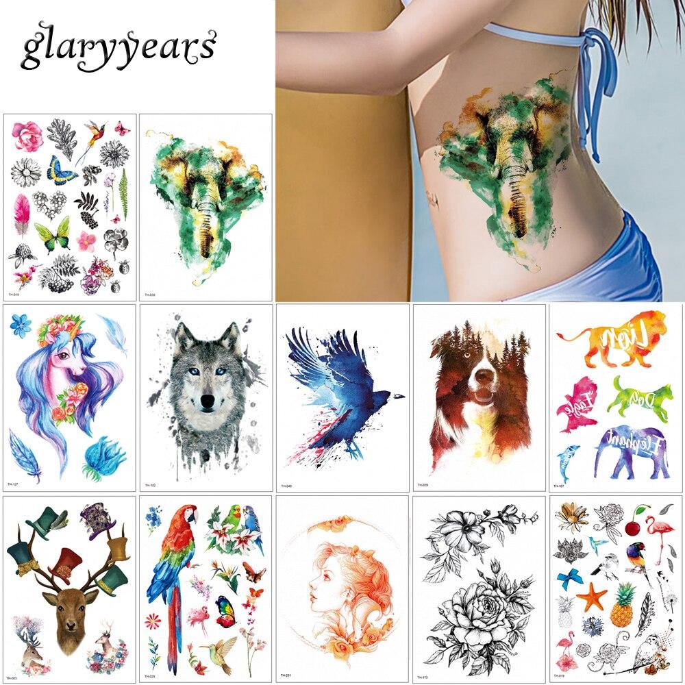 Glaryyears 8 Pieces/set Animal Body Tattoo TH Temporary Watercolor Sticker Elephant Bird Body Art Tattoo For Women Men 2019 Gift
