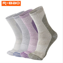 2 Pairs R-BAO RB3308 Outdoor Merino Wool Hiking Socks Mens Womens Sports Warm Spring Winter Fit to Size 35-43