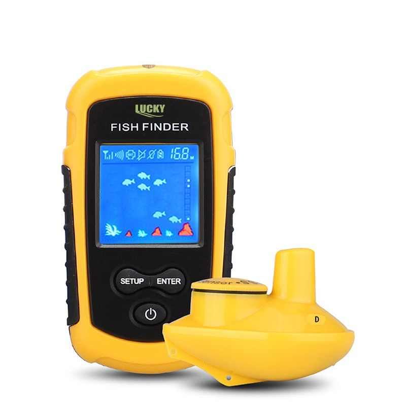 Lucky 120 meters wireless operation range Portable sonar sensor deeper Fish Finder FFCW1108-1 color lcd display for fishing