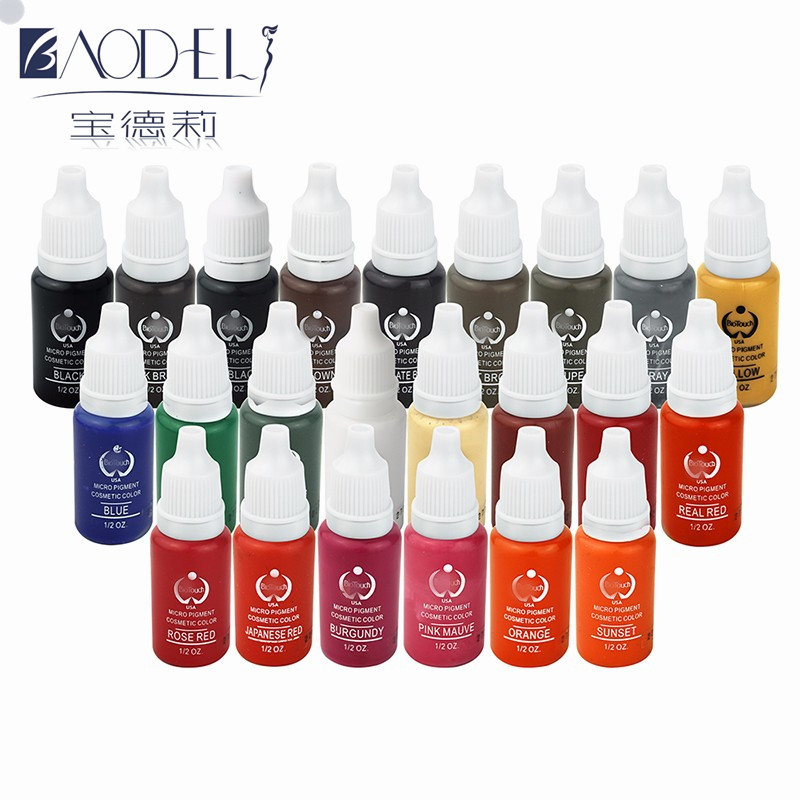 Wholesale-23pcs Beauty tools  tattoo ink set pigments permanent makeup 15ml cosmetic color tattoo ink for eyebrow eyeliner lip 35000r import permanent makeup machine best tattoo makeup eyebrow lips machine pen