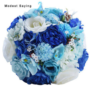 Pack with Box Gorgeous Handmade Artificial Flowers Blue Rose Wedding Bouquets 2017 Bridal Bridesmaid Bouquet Wedding Accessories