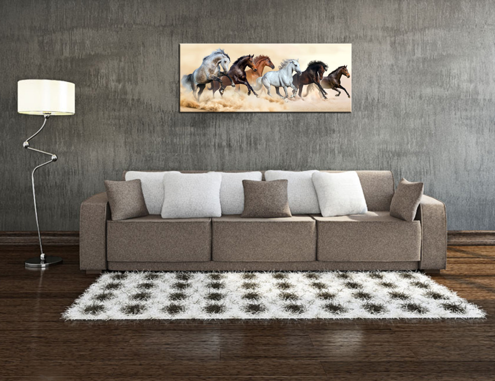 Attraktiv Modern Living Room Decoration Painting Canvas Prints Horse Herd Run In  Clouds Of Dust Mural Wall Art Poster Print Giclee Artwork In Painting U0026  Calligraphy ...