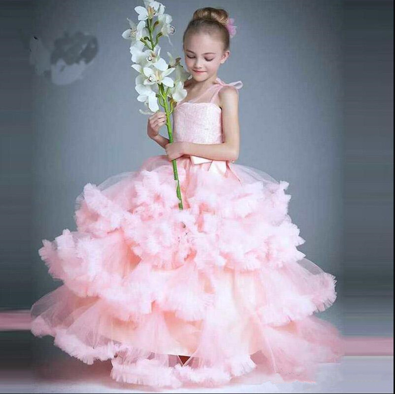 Pink Tulle Flower Girl Dress With Cloud Ruffles Puffy Girls Pageant Gowns High Quality Princess Dress Customized Formal Wears