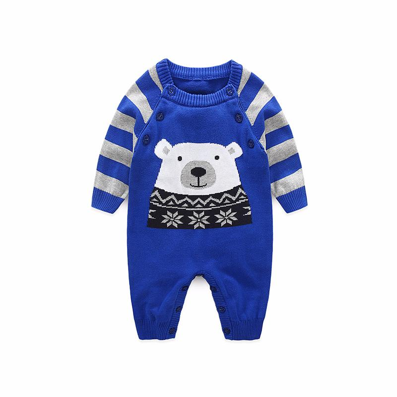 New Spring Autumn Baby Rompers Cute Cartoon Bear Infant Girl Boy Jumpers Kids Baby Outfits Clothes Long Sleeve Knitwear Clothing
