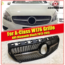 W176 A Class Diamonds Grille grill gloss black without sign A180 A200 A220 A250 A45AMG look Front Bumper Kidney Grills 2013-2015