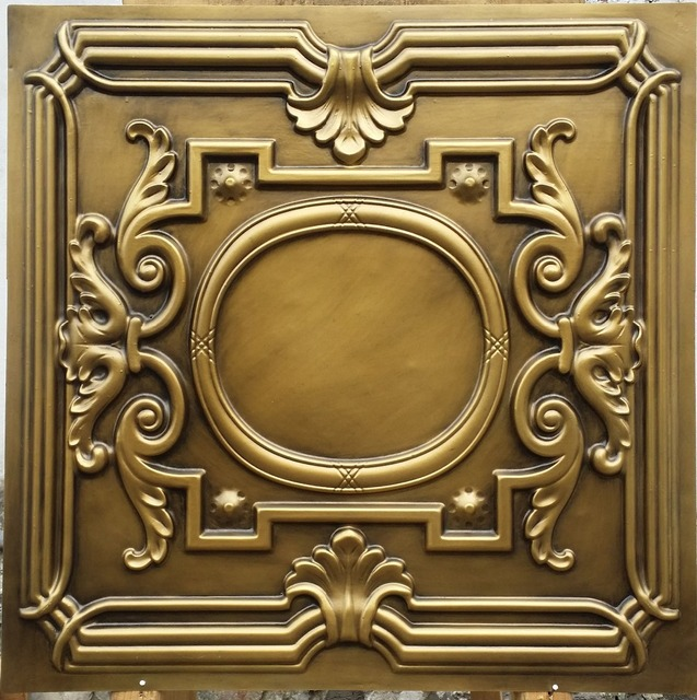 PL15 lacquer painting ceiling tiles antique brass color three ...