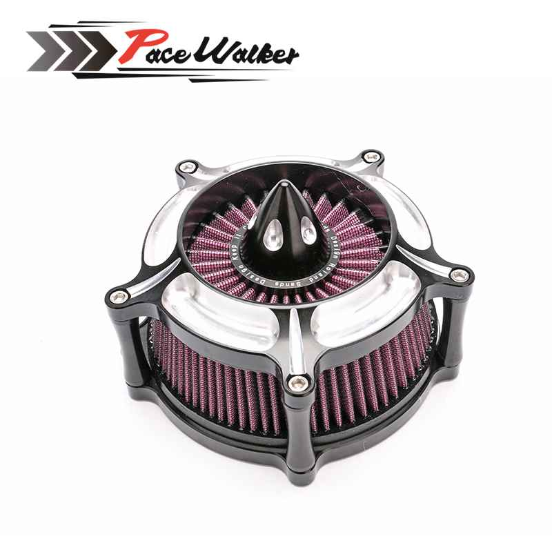 Pacewalker Harley Motorcycle CNC Crafts Air Cleaner Intake Filter Road King gliding 01-07 Soft tail Dana96-15 epman universal 3 aluminium air filter turbo intake intercooler piping cold pipe ep af1022 af