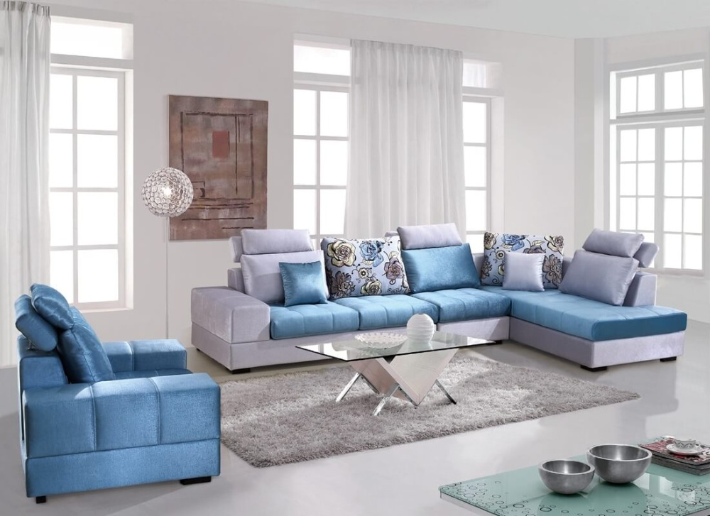 Modern Blue Washable Velvet Fabric Corner Sofa Set Living Room Sofa China  Wooden Frame L Shape In Living Room Sofas From Furniture On Aliexpress.com  ...