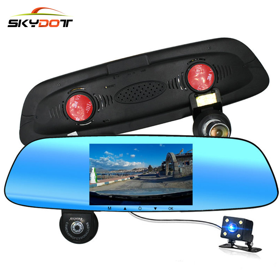 SKydot Car Rearview Camera DVR Dual Lens Dash Cam Full HD 1080P Auto Video Recorder Super Night Vision G-Sensor DVRS Camcorder car dvr dash camera full hd 1080p 2 7inch camcorder video registrator parking recorder g sensor dash cam 170 degree night vision