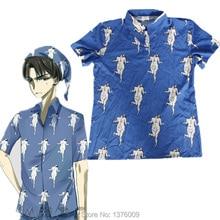 Attack on Titan Blue Levi Shirt Giant Kawaii Tops Tee