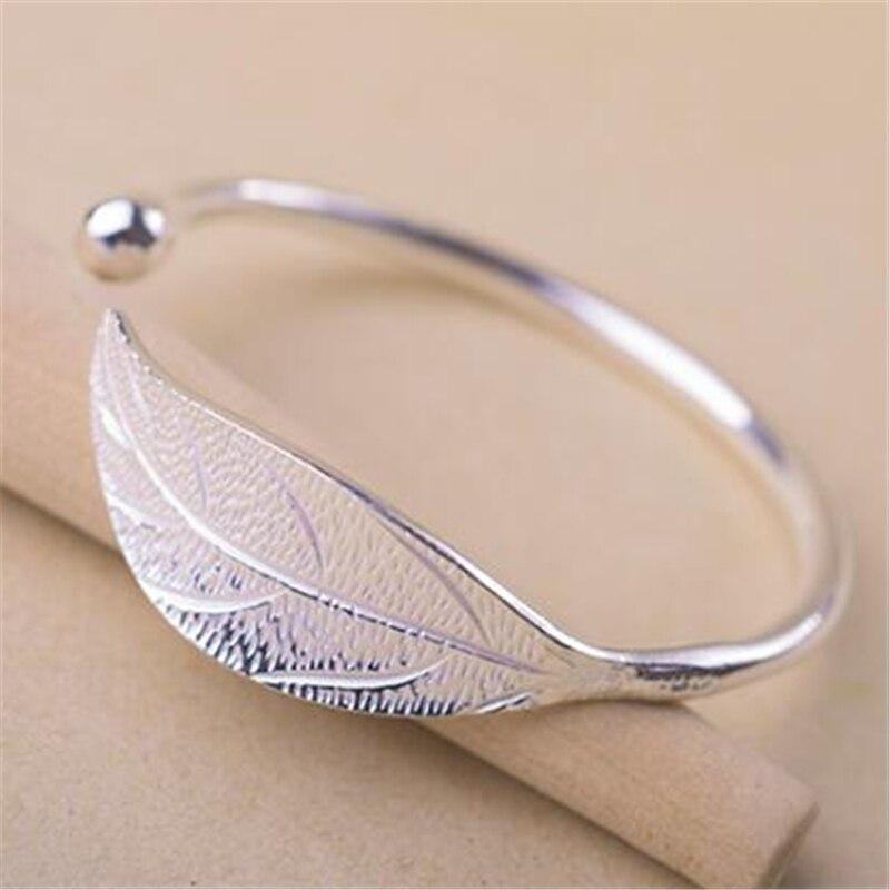 100% 925 argent Sterling feuille bracelets porte-bonheur & bracelets pour femmes cadeau de mariage Bracelet réglable Pulseira Feminina SL206