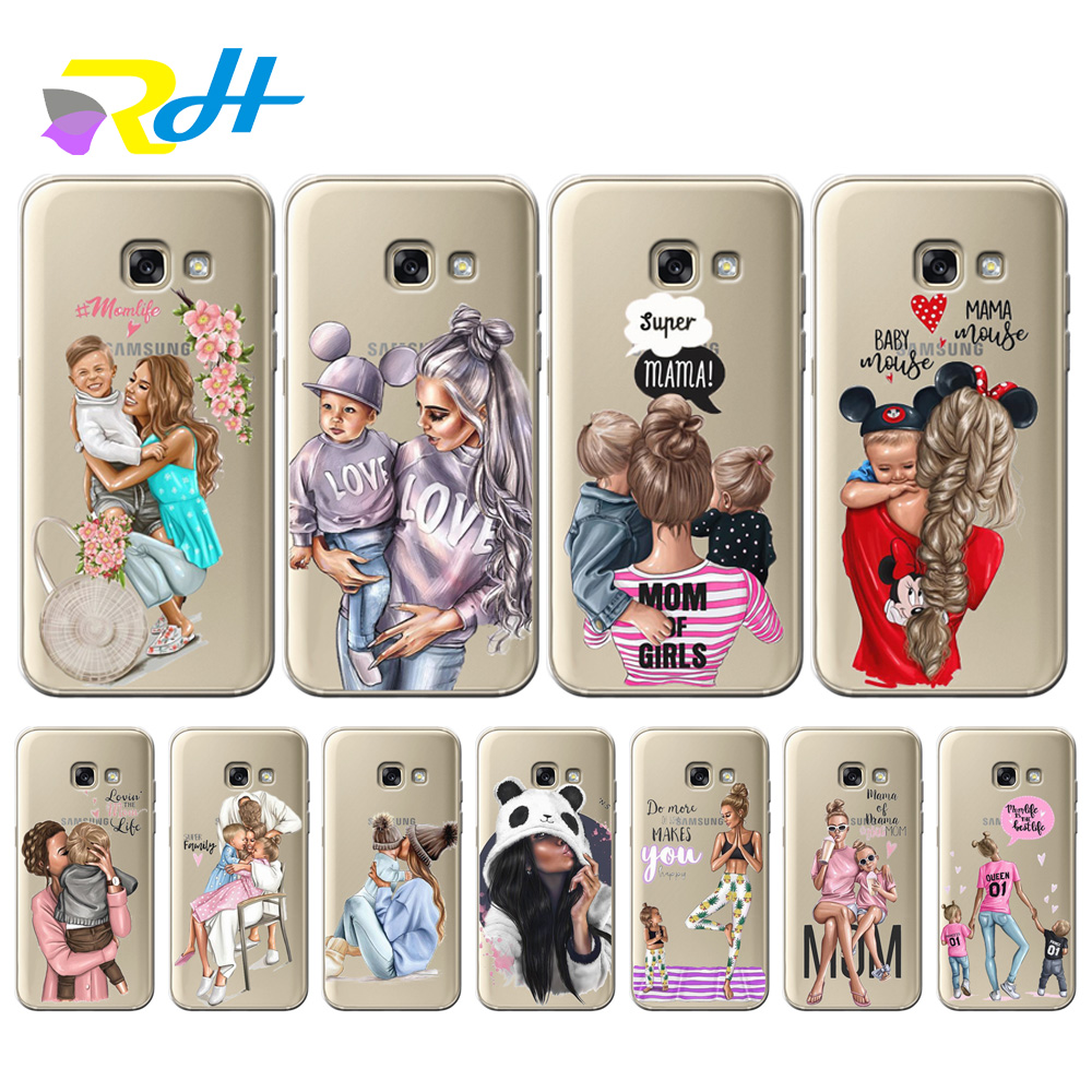 Soft TPU Cover for Samsung Galaxy A7 2018 Coque Etui Baby Mom Girl for Samsung Galaxy A10 20 30 40 50 70 A6 A8 Plus 2018 Case