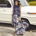 Summer Retro Casual A-Line Ankle-length Vintage Big Yard Printed Skirt Length Long Maxi Skirts Saia womens 2016