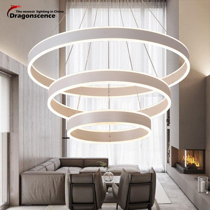 Dragonscence Modern LED chandelier Luxury Living Room led-lamp High Power Hanging Lighting Fixtures ring Chandeliers lamp lustre