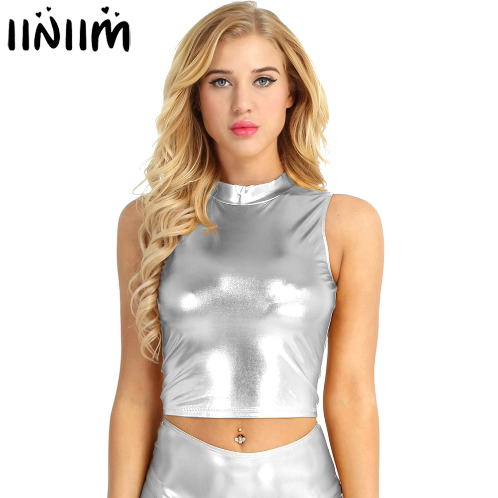 iiniim Womens Fashion Wet Look Tank Faux Leather Sleeveless Mock Neck Turtleneck Crop Club Evening Party Sexy Tank Tops