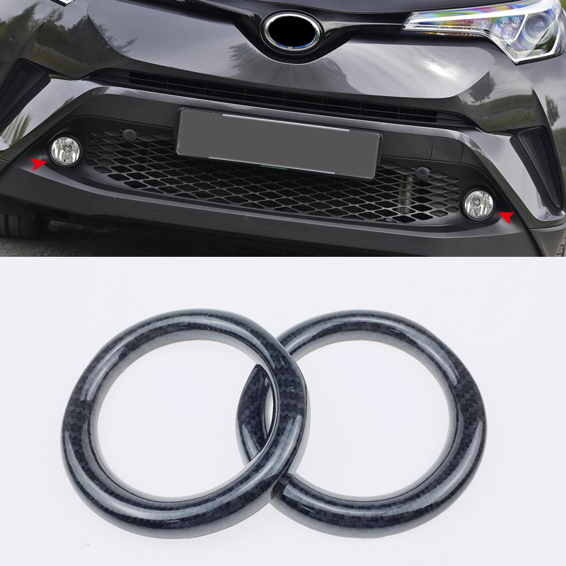 Carbon Fiber Color Exterior Front Fog Light Lamp Cover Trim 2PCS For Toyota C-HR CHR 2016 2017 2018 abs chromed  carbon fiber color exterior