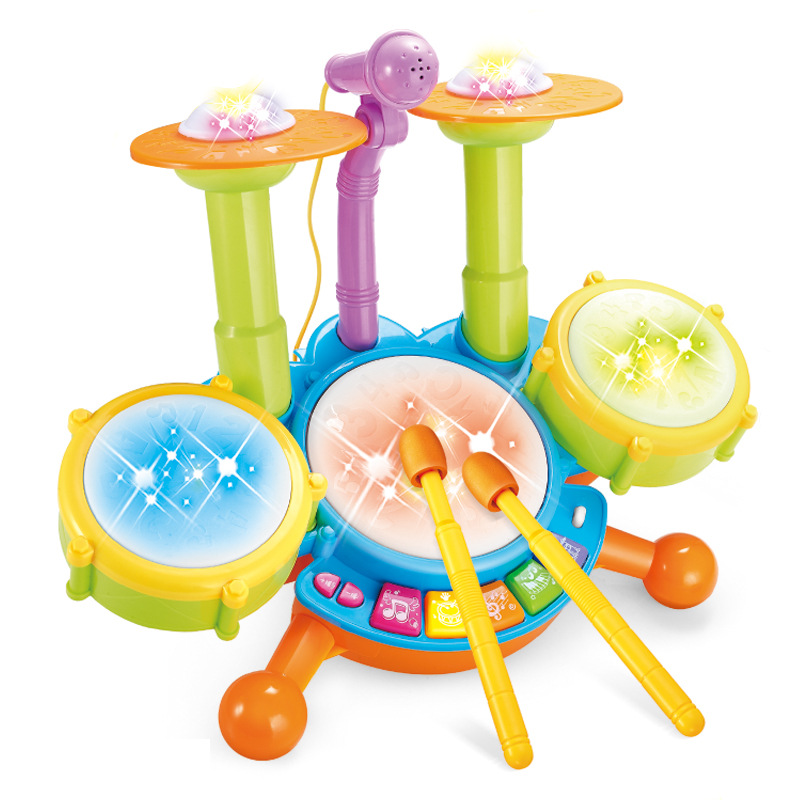 Electric light music with microphone, jazz drum set, drum drum, child intelligence, early education toys. цены онлайн