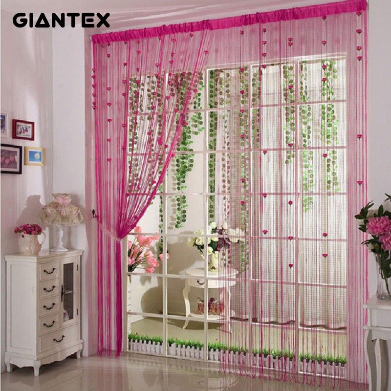 Giantex Romantic Flower Decor String Curtain Window Door Divider Sheer Curtains Valance Home Decoration 0 95x1