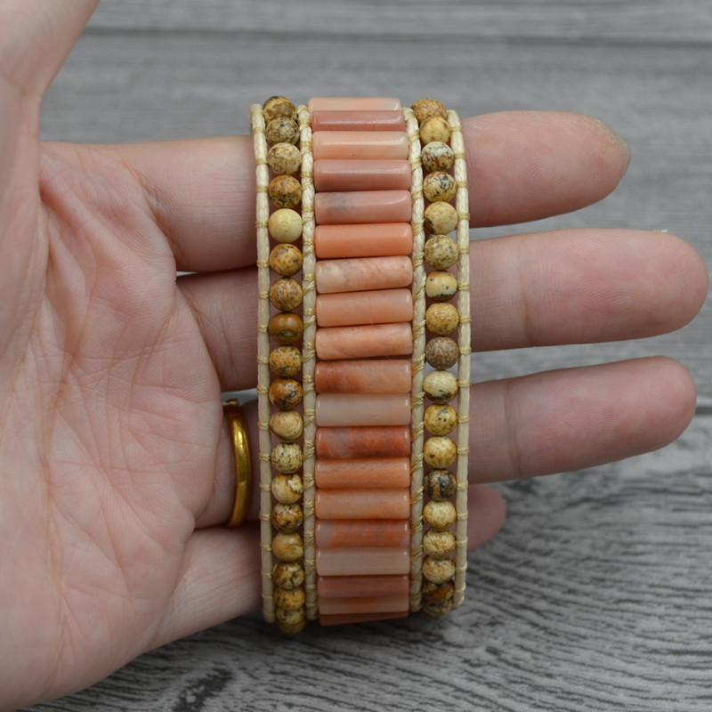 Bohemia aVolcanic Lava Natural Stone Bracelet Handmade Sunflower Leather Bracelet For Women Men Jewelry Accessories Wholesale in Strand Bracelets from Jewelry Accessories
