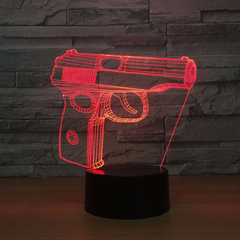 Lampe 3D veilleuse tactile Pistolet Déco Chambre
