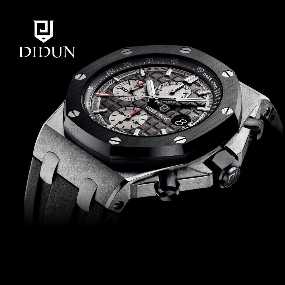 DIDUN New Mens Watches Top Brand Luxury Quartz Watch Men Calendar Leather Military Waterproof Sport Wrist Watch clock men магниты из гипса disney феи