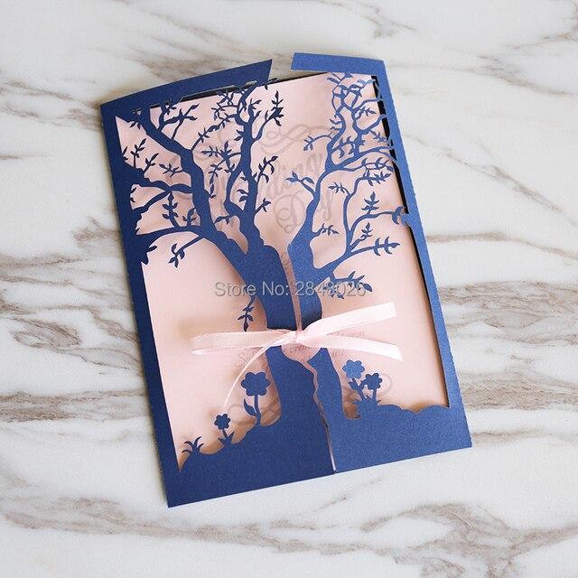 50pcs dark blue gate fold tree wedding invitationlaser cut custom 50pcs dark blue gate fold tree wedding invitationlaser cut custom invitations personalized m4hsunfo