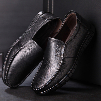 OSCO Men Shoes Leather Business Casual Shoes Hollow Middle-aged Shoes Breathable dad shoes Slip on Flats Loafers Footwear