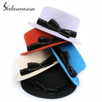Sedancasesa New Vintage Fashion Wool Women's Lady Hat Trendy Bowler Derby Fedoras Hats billycock Wide Brim Handmade Bowknot