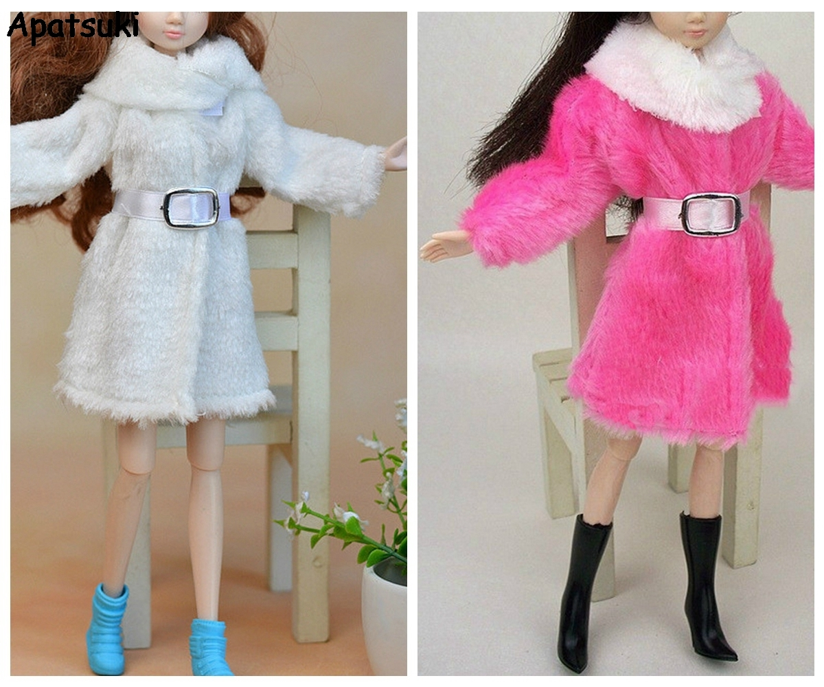 Kids Toy Doll Accessories Winter Warm Wear Pink Fur Coat Mini Clothes Dress For Barbie Dolls Fur Doll Clothing With Waist Belt