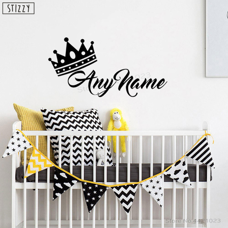STIZZY Wall Decal Creative Crown Princess Prince Personalized Name Wall Sticker Baby Nursery Kids Room Decoration Art Decor B457