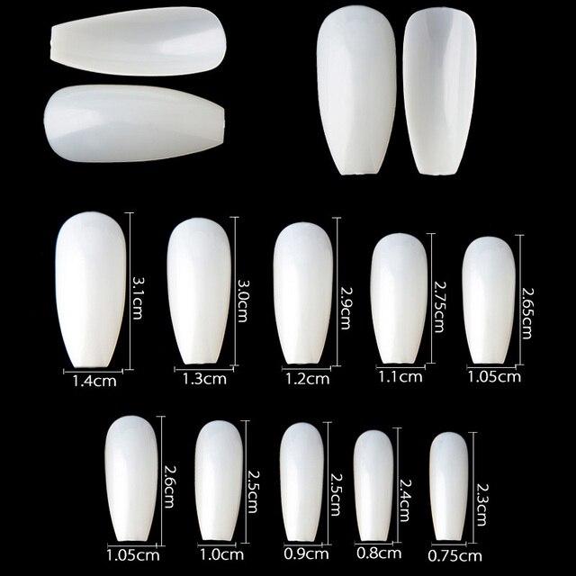 500pcs Professional Fake Nails Square Style White Long Ballerina ...