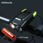 4000mAh Bicycle Induction Bike Front Light Set USB Rechargeable Smart Headlight With Horn LED Bike Light+Rear Lamp Flashlight