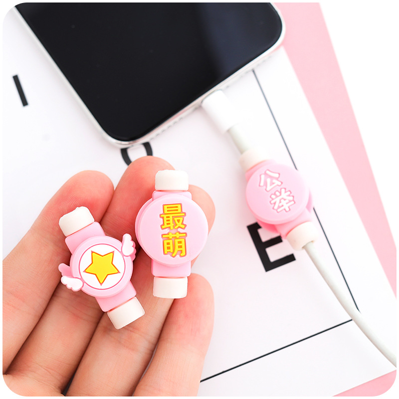 Image 4 - Creative Cartoon Kawaii Stars Chinese haracters USB Cable Earphone Line Saver For Mobile Phone Charging Data Line Protector DM-in Home Office Storage from Home & Garden