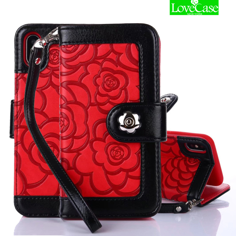 LoveCase 3D Camellia Flower Phone Case For iPhone X 10 8Plus Fashion Card Slot Camellia Flip Leather Case For iphoneX phone bag