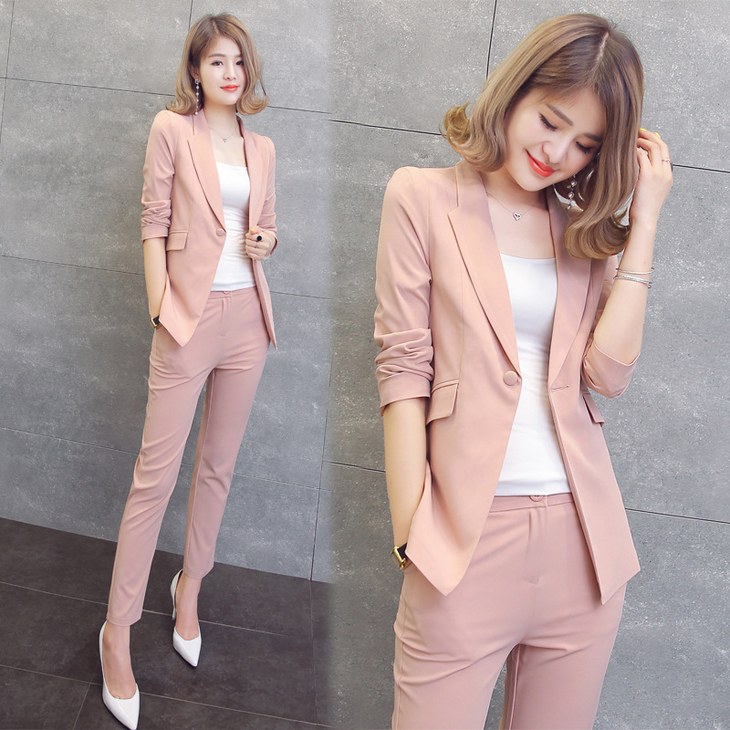 2 Piece Set Women Black Pink Yellow Red White Pants Suits Cardigan Trousers Autumn Plus Size Office Clothing