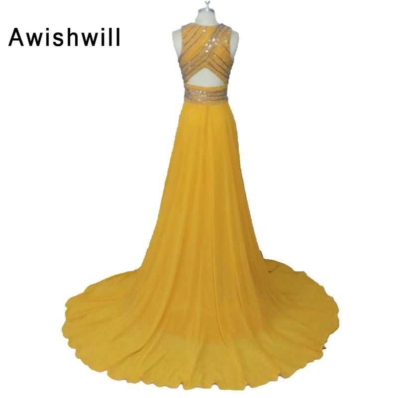 b3b6fa2feaa Gorgeous Yellow Color Long Evening Gowns O-neck Court Train Sleeveless  Chiffon A Line Formal Party Prom Dresses Custom Made. 4 (1) 4 (2) ...