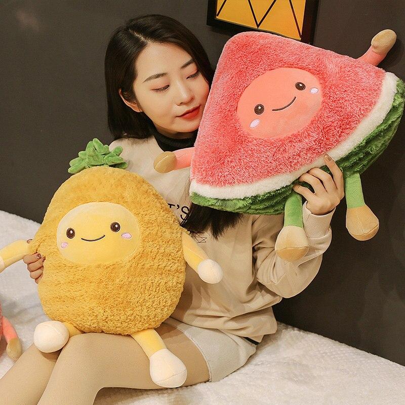 1 Pc Kawaii Watermeloen Cherry Ananas Vruchten Zacht Pluche Leuke Gevulde Speelgoed Poppen Kussen Voor Baby Kids Kinderen Meisje Geschenken Regelmatig Drinken Met Thee Verbetert Uw Gezondheid