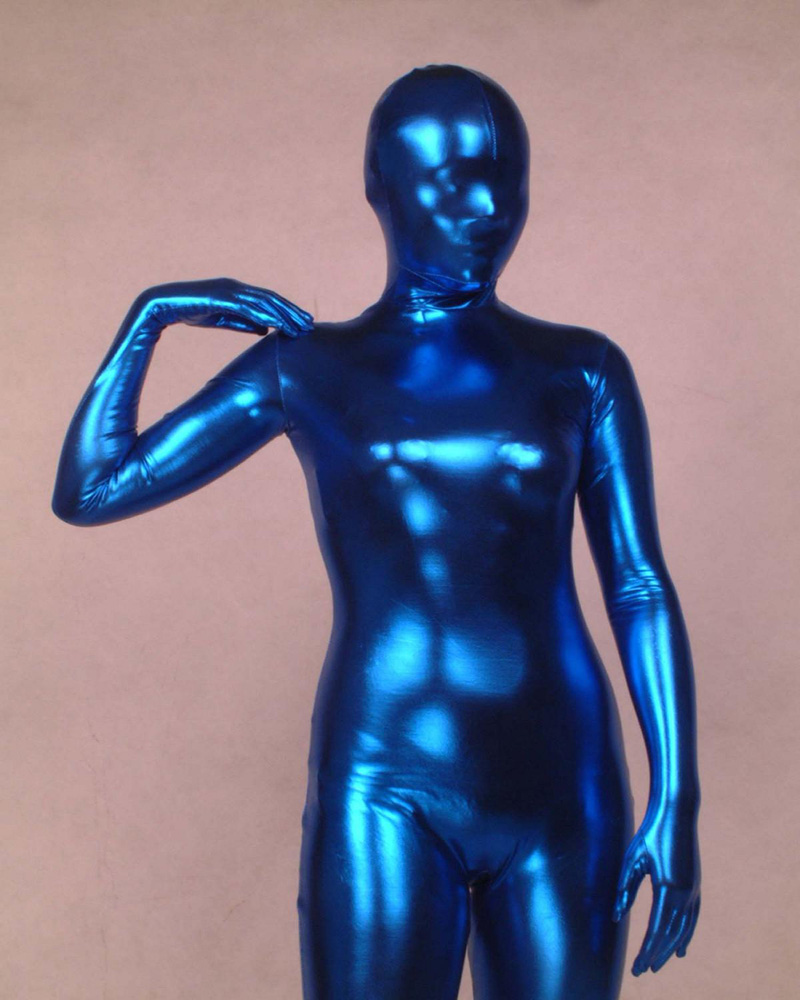 8de372c01f Blue Latex Lycra Cos jumpsuits Zentai Suit Pvc Catsuit Tights Bodysuit  Fancy Dress B001
