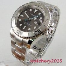 цена 40mm parnis Grey dial Sapphire Crystal Luminous Marks Complete Calendar 21 jewels Miyota Automatic mechanical Mens Wristwatches онлайн в 2017 году