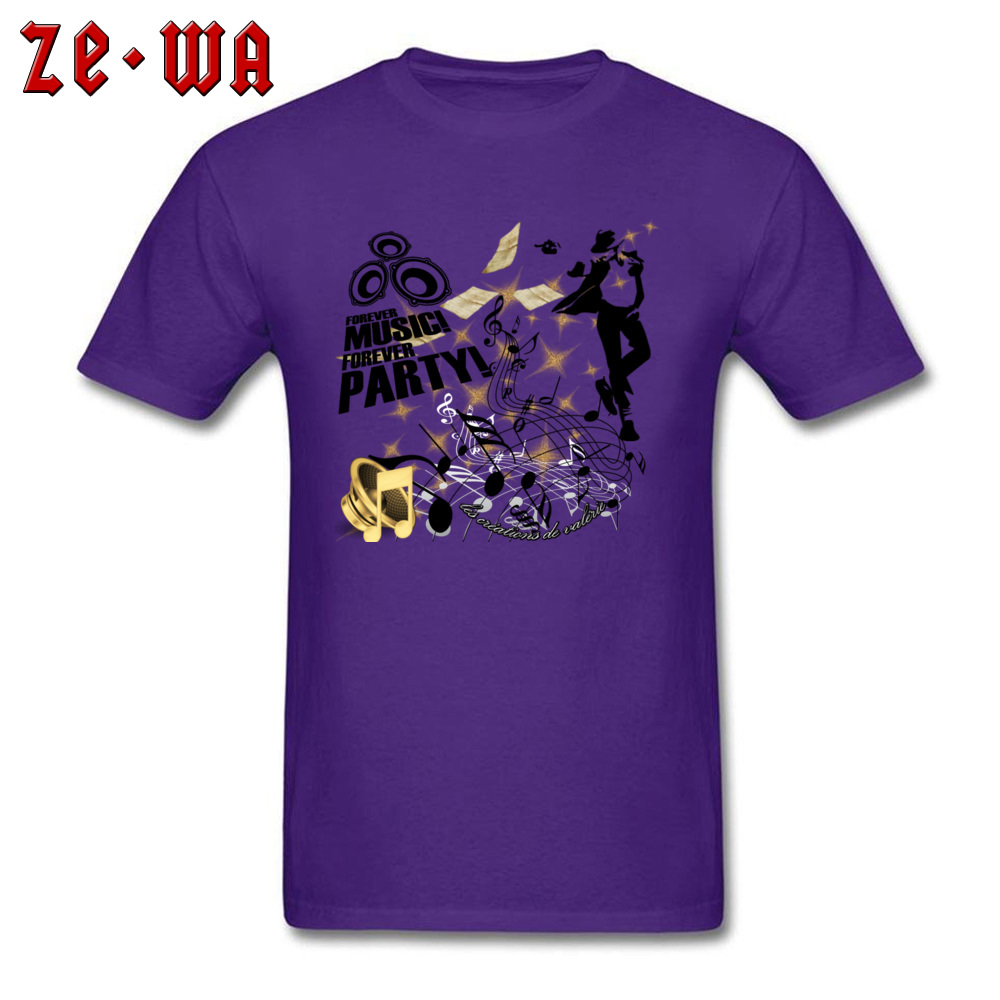New Arrival Forever Music Party Printed Top T-shirts Round Collar 100% Cotton Men Tops Shirt Short Sleeve T Shirts ostern Day Forever Music Party purple