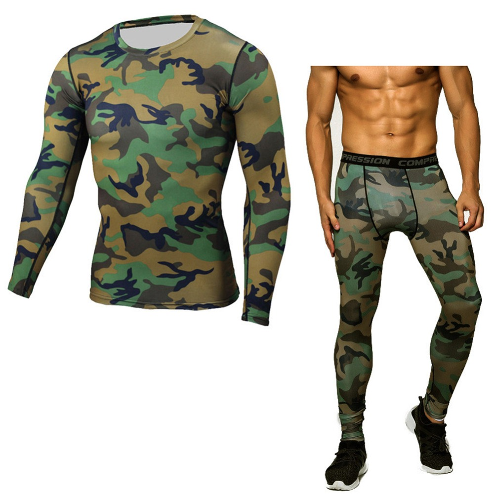 Mens Camouflage Compression Shirt Skin Tight Long Sleeve T Shirt + Leggings Bodybuilding Crossfit Workout Sportswear