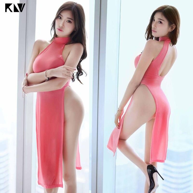 KLV Women Temptation Cheongsam Lingerie Midi Dress High Split Babydoll Nightgown Uniform Halter Backless Solid Color Sleepwear