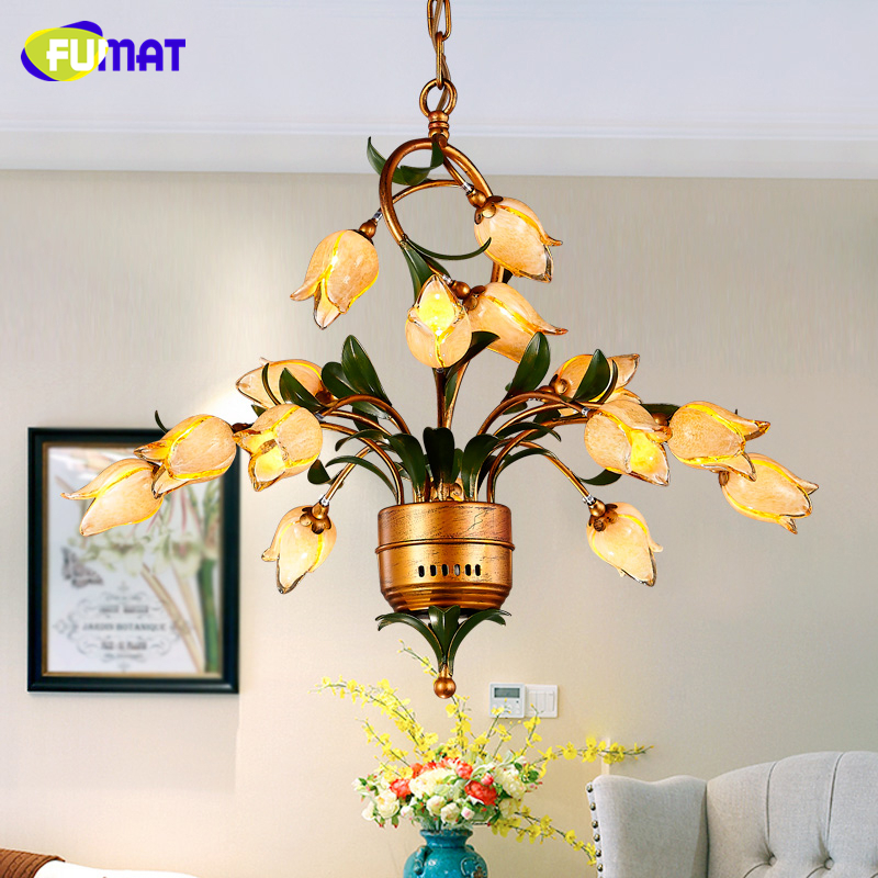 FUMAT Glass Flowers Chandeliers American Artistic Yellow Glass Shade Suspension Lights Living Room European Art Deco Chandeliers